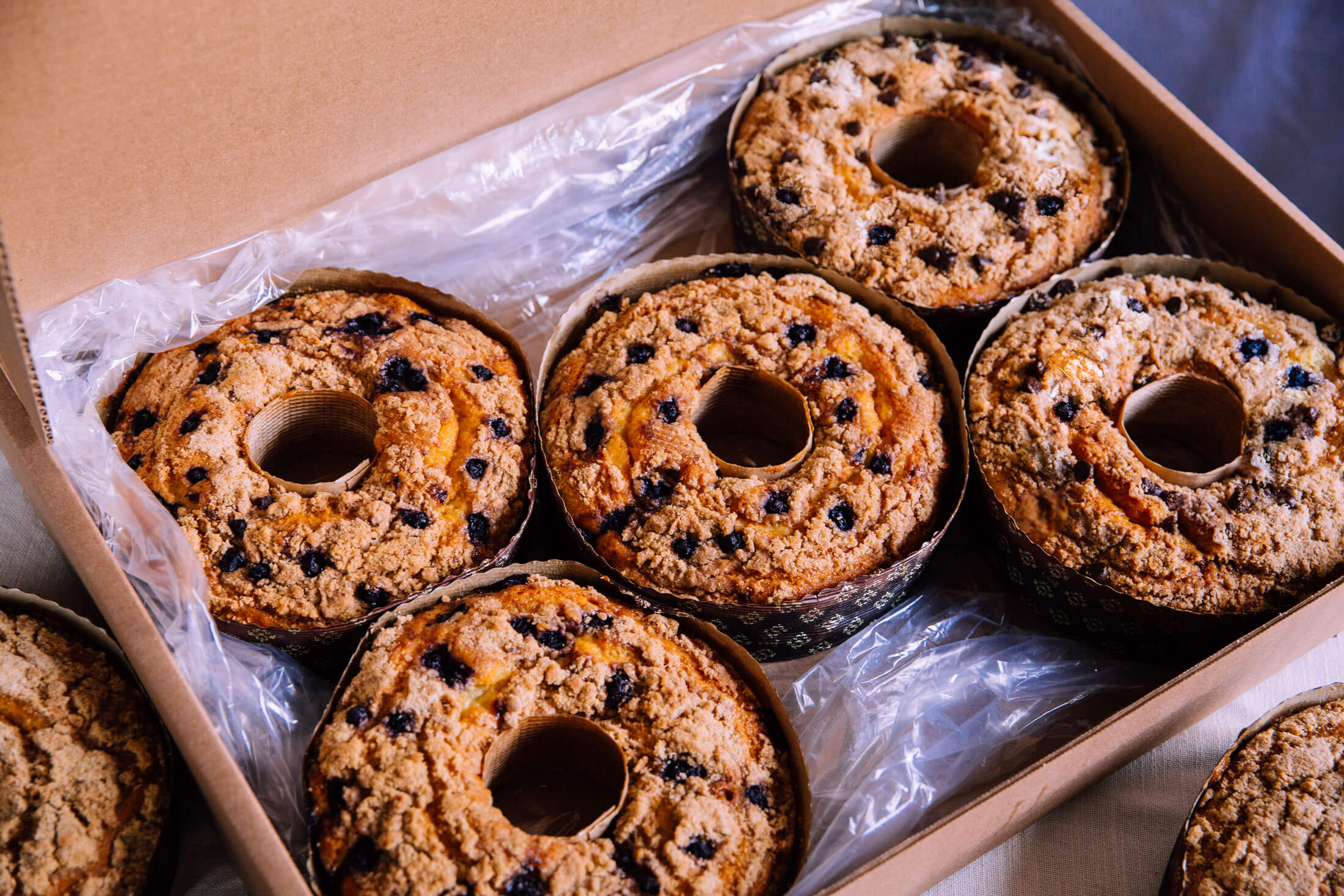 A boxed shipment of Boston Baking Coffee Cakes