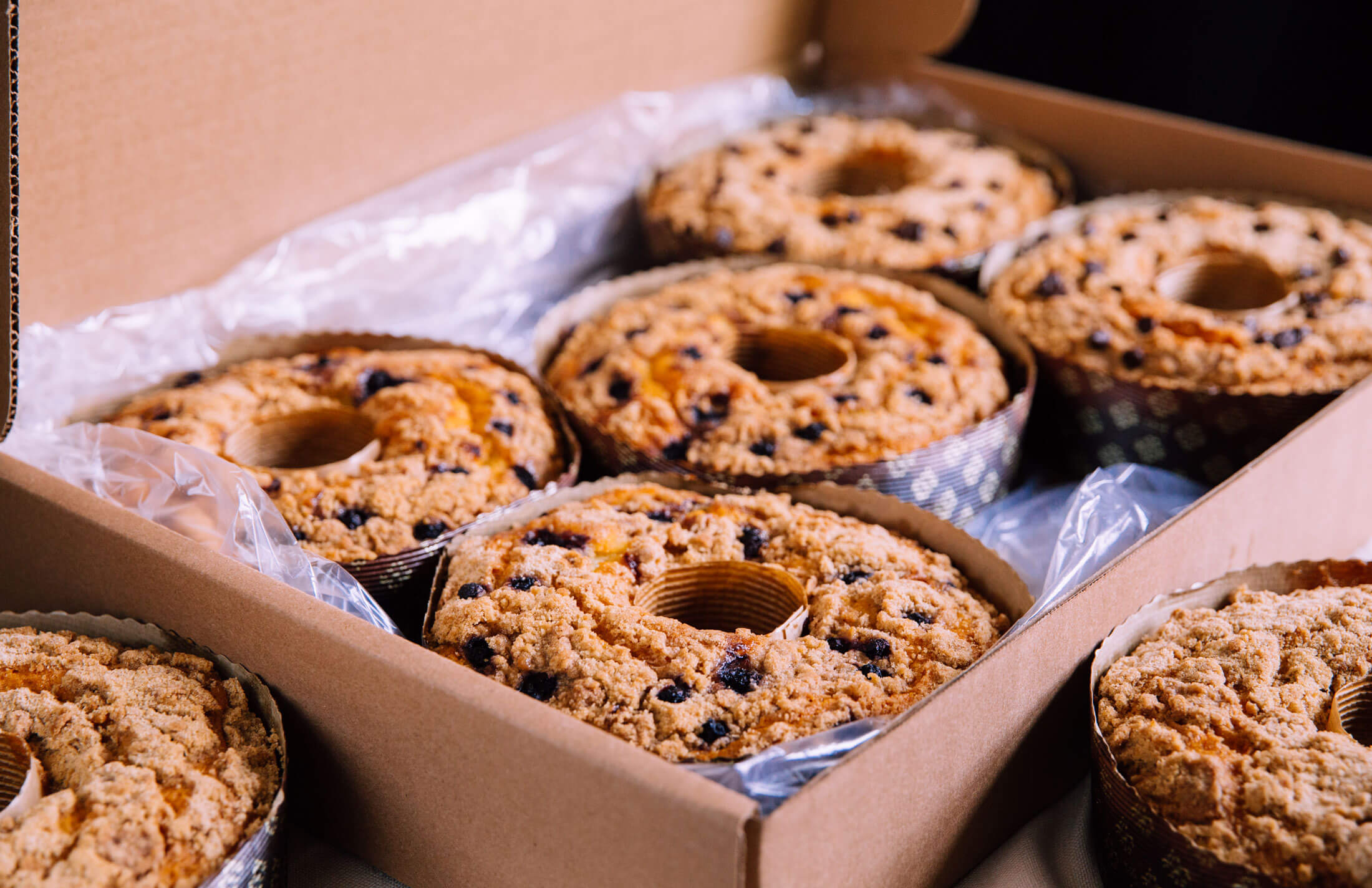 A boxed order of Boston Baking Coffee Cakes