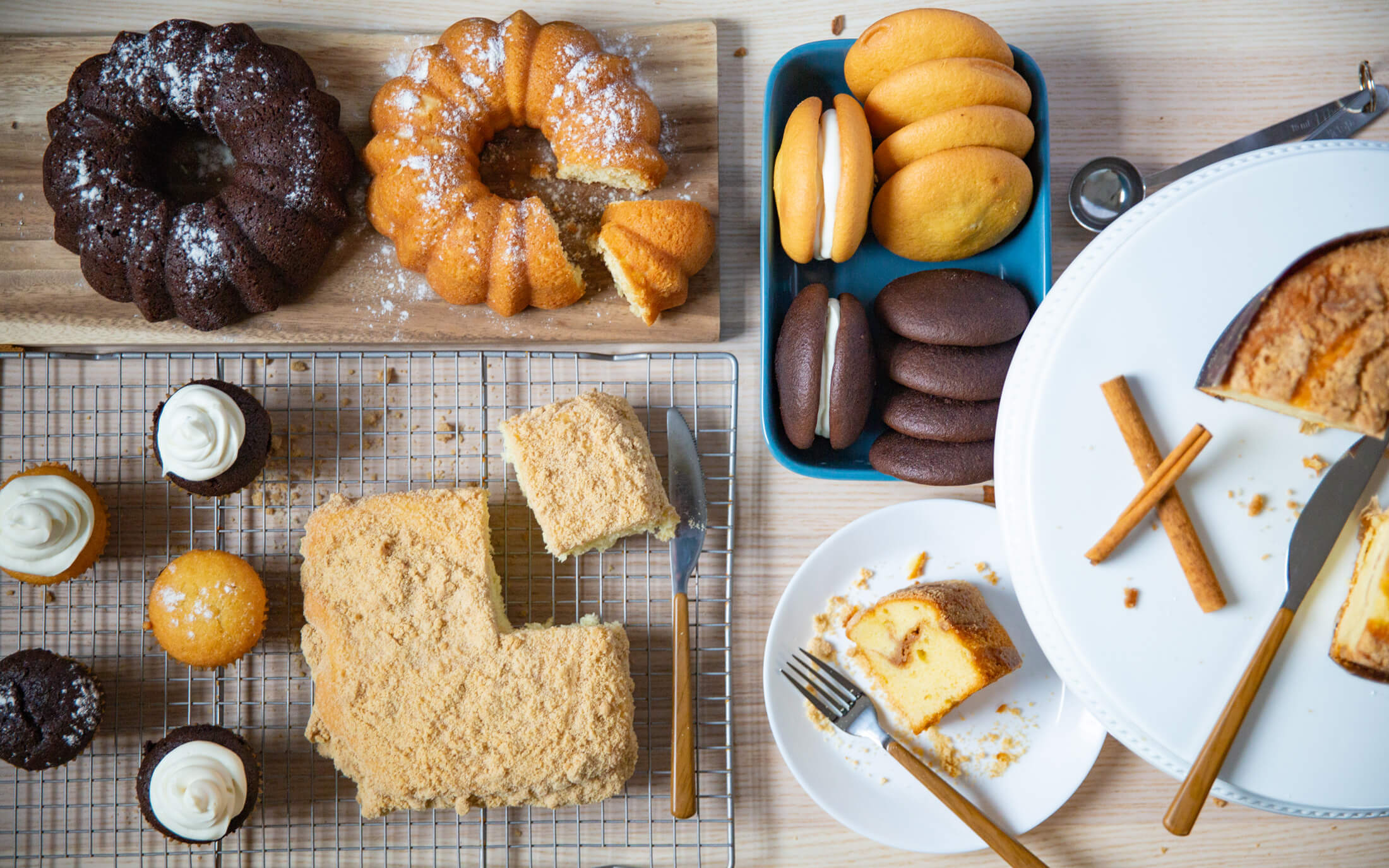 A variety of Boston Baking cakes